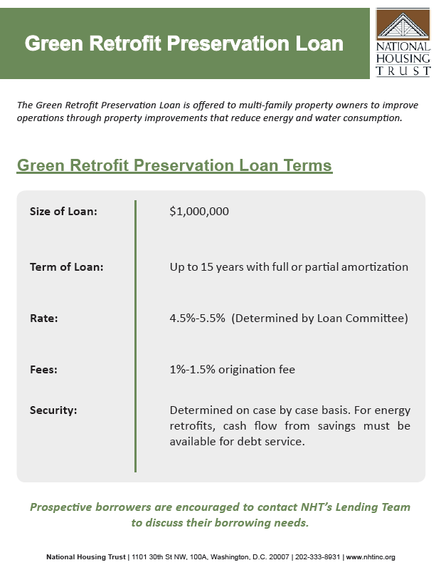 Green Retrofit Preservation Loan